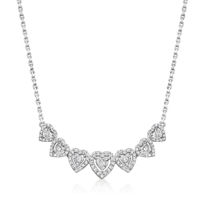 .50 ct. t.w. Diamond Graduated Heart Necklace in Sterling Silver