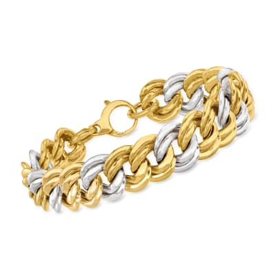 Italian 14kt Two-Tone Gold Wide-Link Bracelet