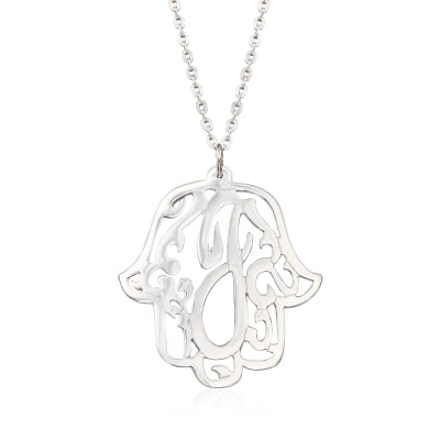 Sterling Silver Single Initial Hamsa Hand Pendant Necklace