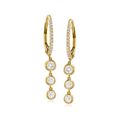 .68 ct. t.w. Diamond Hoop Drop Earrings in 14kt Yellow Gold