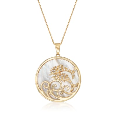 Mother-Of-Pearl Dolphin Pendant Necklace with Diamond Accents in 14kt Yellow Gold
