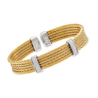 "ALOR ""Classique"" .30 ct. t.w. Diamond Yellow Stainless Steel Cable Cuff Bracelet with 18kt White Gold"