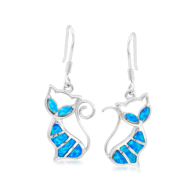 Blue Synthetic Opal Cat Drop Earrings in Sterling Silver