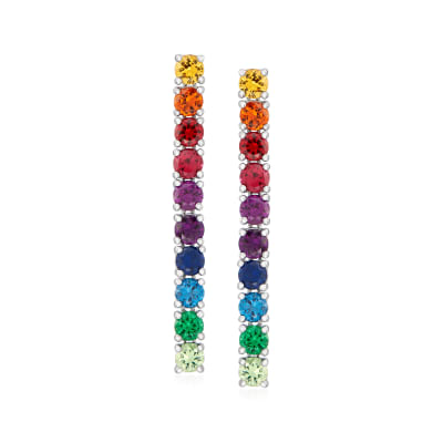 4.60 ct. t.w. Multicolored CZ Linear Drop Earrings in Sterling Silver