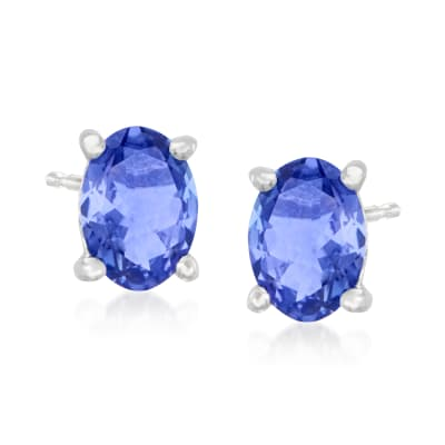 1.42 ct. t.w. Tanzanite Stud Earrings in Sterling Silver