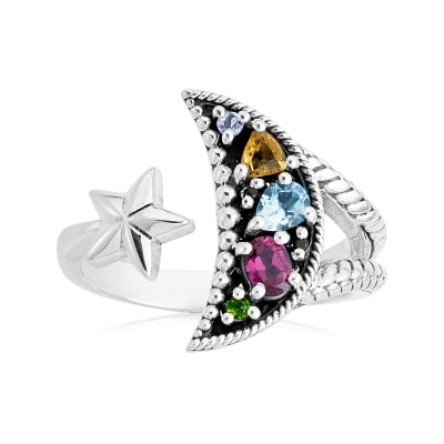.45 ct. t.w. Multi-Gemstone Moon and Star Bypass Ring in Sterling Silver