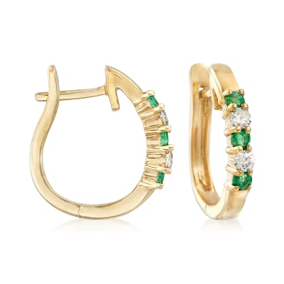 .20 ct. t.w. Emerald and .10 ct. t.w. Diamond Hoop Earrings in 14kt Yellow Gold