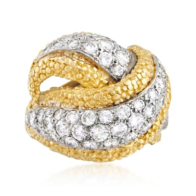 C. 1990 Vintage 1.75 ct. t.w. Diamond Crossover Ring in 18kt Yellow Gold
