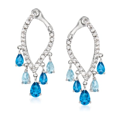 2.50 ct. t.w. Blue and White Swarovski Topaz Drop Earrings in Sterling Silver