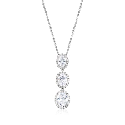 4.30 ct. t.w. CZ Drop Pendant Necklace in Sterling Silver