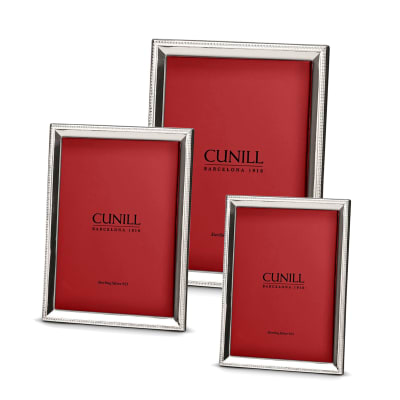 Cunill Italian Sterling Silver Beveled Beaded Picture Frame