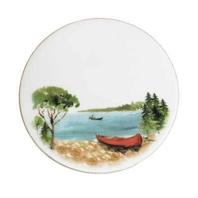 """Abbiamo Tutto """"A Day at the Lake"""" Ceramic Trivet/Cheeseboard from Italy"""