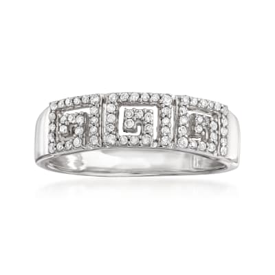 .25 ct. t.w. Diamond Greek Key Ring in Sterling Silver