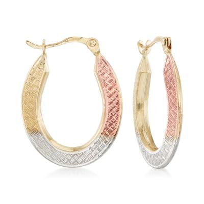 14kt Tri-Colored Gold Oval Hoop Earrings