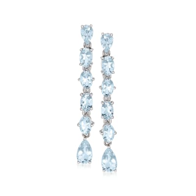 5.30 ct. t.w. Aquamarine Linear Drop Earrings in Sterling Silver