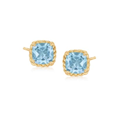 3.30 ct. t.w. Sky Blue Topaz Stud Earrings in 14kt Yellow Gold