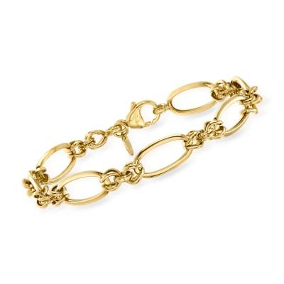 Italian 14kt Yellow Gold Alternating Link Bracelet