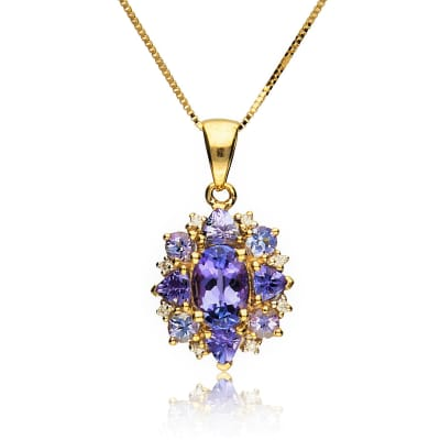 1.40 ct. t.w. Tanzanite Pendant Necklace with Diamond Accents in 14kt Yellow Gold