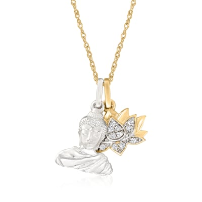 14kt Two-Tone Gold Lotus and Buddha Pendant Necklace with Diamond Accents