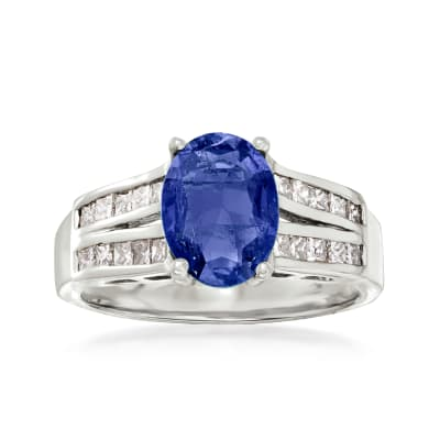 2.20 Carat Sapphire and .42 ct. t.w. Diamond Ring in 14kt White Gold