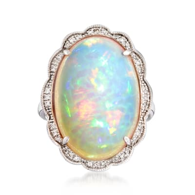 White Opal and .10 ct. t.w. Diamond Ring in 14kt White Gold