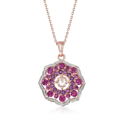1.90 ct. t.w. Multi-Gemstone Pendant Necklace in 18kt Rose Gold Over Sterling