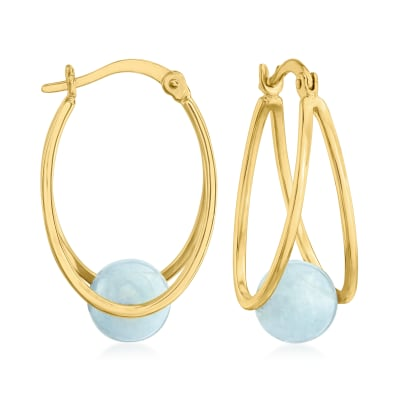 7.80 ct. t.w. Milky Aquamarine Double-Hoop Earrings in 18kt Gold Over Sterling
