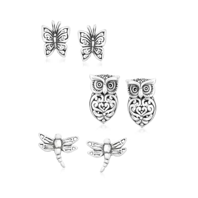Sterling Silver Nature-Inspired Jewelry Set: Three Pairs of Stud Earrings
