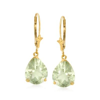 6.00 ct. t.w. Prasiolite Drop Earrings in 14kt Yellow Gold