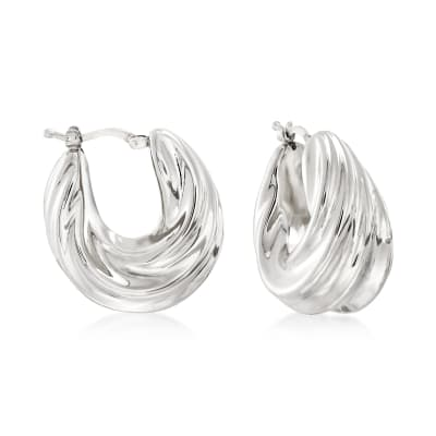 Italian Sterling Silver Pleated Twist Hoop Earrings