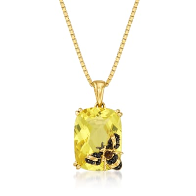 8.75 Carat Lemon Quartz Bee Pendant Necklace in 18kt Gold Over Sterling