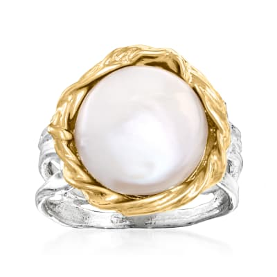 11-12mm Cultured Baroque Coin Pearl Two-Tone Ring in Sterling Silver and 14kt Yellow Gold
