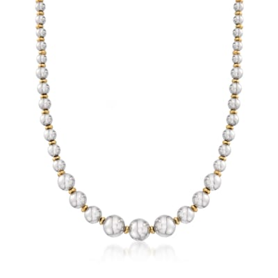 Italian Two-Tone Sterling Silver Bead Necklace