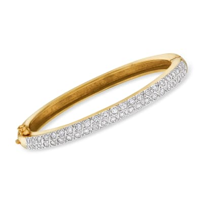 C. 1980 Vintage 2.50 ct. t.w. Diamond Bangle Bracelet in 14kt Yellow Gold