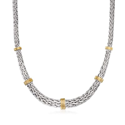 Sterling Silver and 14kt Yellow Gold Wheat-Link Necklace