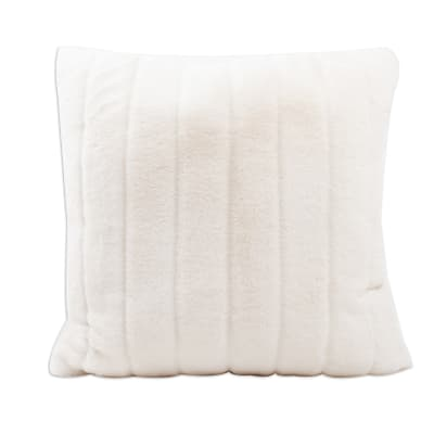 Set of 2 White Faux Fur Throw Pillows