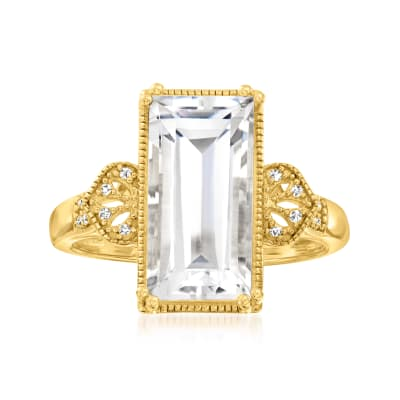 Rock Crystal Ring with Diamond Accents in 18kt Gold Over Sterling