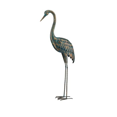 Regal Patina Metal Outdoor Large Crane Statue