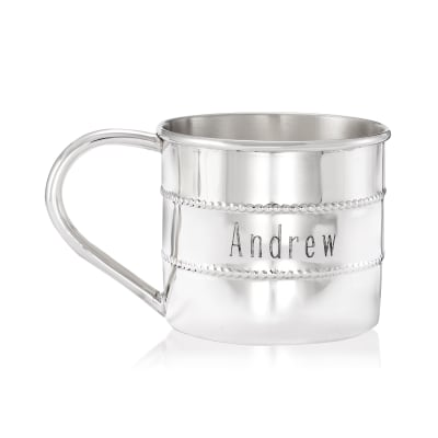 Gorham Sterling Silver Personalized Beaded Baby Cup