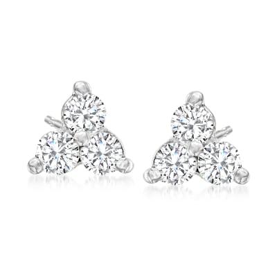 .51 ct. t.w. Diamond Trio Stud Earrings in 14kt White Gold