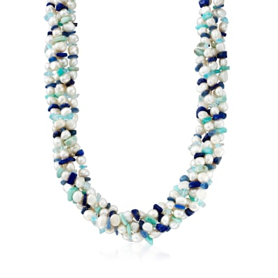 5-7mm Cultured Pearl and Multi-Gemstone Torsade Necklace with Sterling Silver