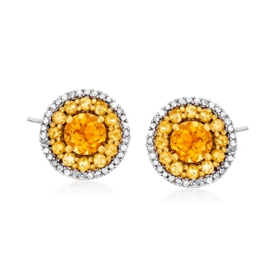2.10 ct. t.w. Citrine and .33 ct. t.w. Diamond Earrings in 18kt Gold Over Sterling