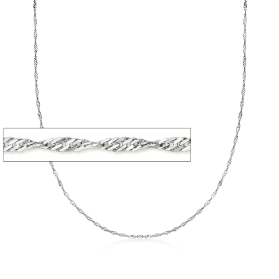 Italian 1.5mm Sterling Silver Adjustable Singapore Chain Necklace