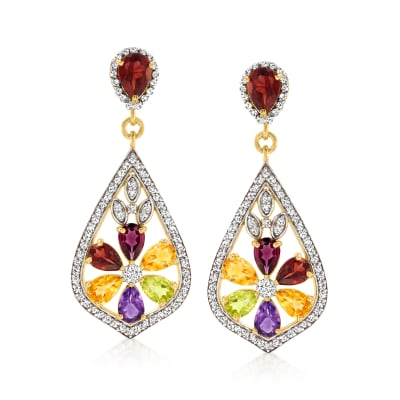 7.70 ct. t.w. Multi-Gemstone Flower Drop Earrings in 18kt Gold Over Sterling