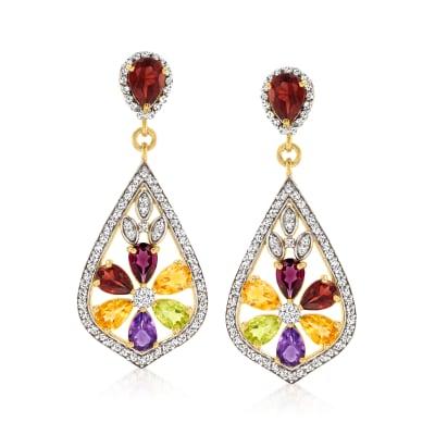 7.70 ct. t.w. Multi-Gemstone Flower Drop Earrings in 18kt Gold Over Sterling