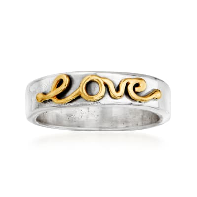 "Sterling Silver and 14kt Yellow Gold ""Love"" Ring"