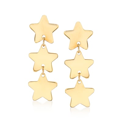 Italian 14kt Yellow Gold Triple Star Drop Earrings