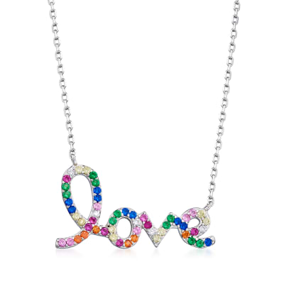 ".45 ct. t.w. Multicolored CZ ""Love"" Necklace in Sterling Silver"