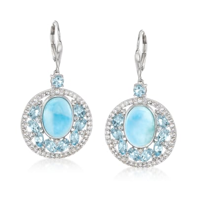 Larimar and 7.90 ct. t.w. Blue and White Topaz Drop Earrings in Sterling Silver