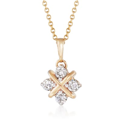.40 ct. t.w. Diamond Square Pendant Necklace in 14kt Yellow Gold